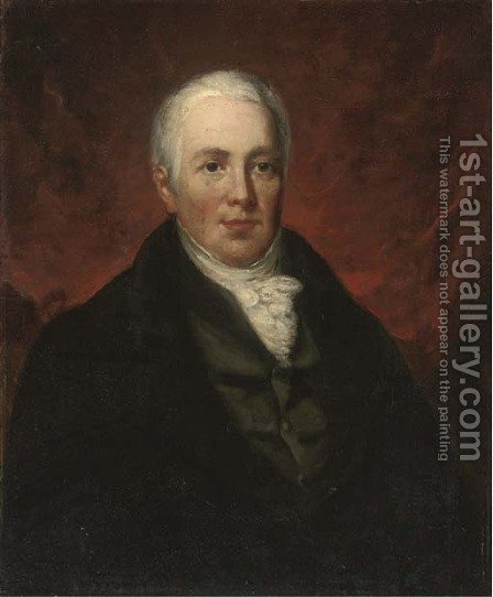 Portrait of James Longsdon (1745-1821), half-length, in a black coat and white cravat by (after) Hoppner, John - Reproduction Oil Painting