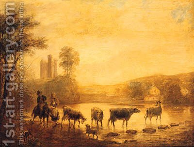 A Herdsman With Cattle Watering In A River, A Castle Beyond by (after) John Inigo Richards - Reproduction Oil Painting