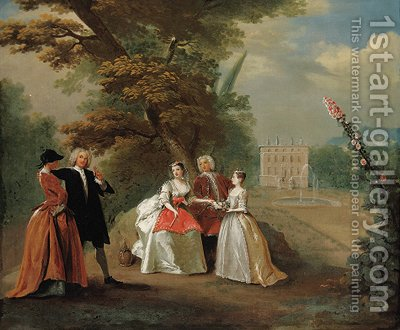 Elegant company in the grounds of a country villa by (after) Joseph Francis Nollekens - Reproduction Oil Painting
