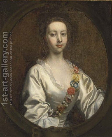 Portrait of Lucia Blithe, bust-length, in a white dress and flower garland, in a feigned cartouche by (after) Highmore, Joseph - Reproduction Oil Painting