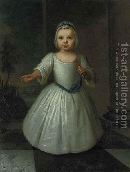 Portrait of Miss D'Aranda as a child, full-length, in a white dress with a blue sash and white bonnet, holding a coral tipped toy in her left hand by (after) Highmore, Joseph - Reproduction Oil Painting