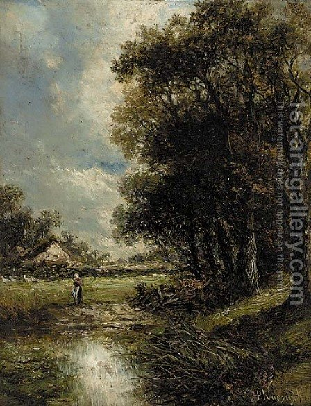 A figure by a pond in a wooded landscape by (after) Joseph Thors - Reproduction Oil Painting