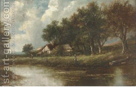 Figures by a river in a wooded landscape by (after) Joseph Thors - Reproduction Oil Painting