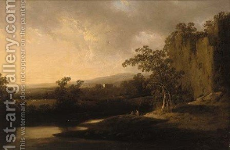 An extensive river landscape with anglers in the foreground and houses beyond by (after) Josepf Wright Of Derby - Reproduction Oil Painting