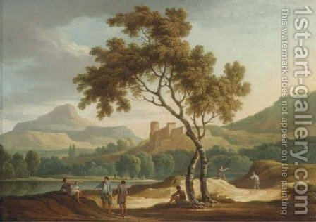 An Italianate river landscape with travellers conversing on a road by (after) Joseph Augustus Knip - Reproduction Oil Painting