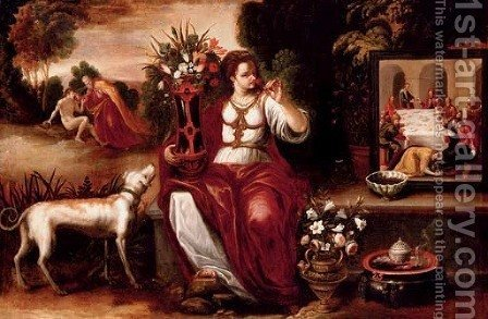 An allegory of the sense of smell by (after) Juan De Arellano Santorcaz - Reproduction Oil Painting