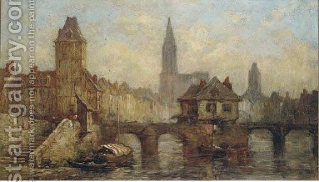 On the river at Petit France, before Strasbourg Cathedral by (after) Noel, Jules Achille - Reproduction Oil Painting