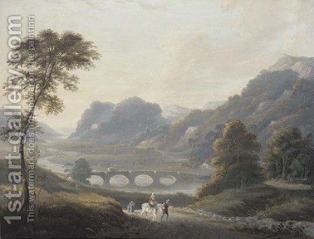 Travellers on a track in a river landscape by (after) Julius Caesar Ibbetson - Reproduction Oil Painting