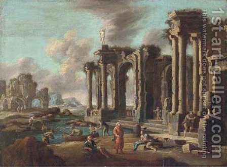 A capriccio of Roman ruins with travellers by (after) Leonardo Corrorante - Reproduction Oil Painting