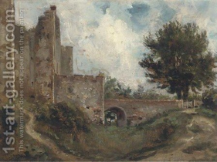 A castle with a dry moat by (after) Lionel Constable - Reproduction Oil Painting