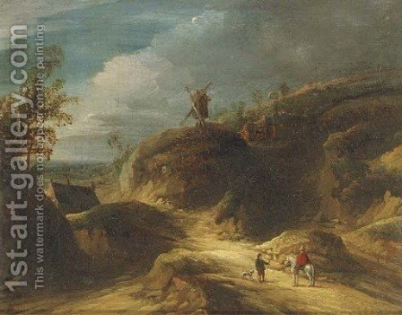 A mountainous landscape with travelers conversing on a path, a windmill beyond by (after) Lodewijk De Vadder - Reproduction Oil Painting