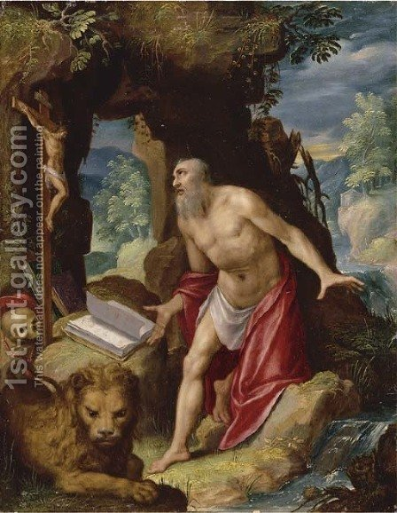 Saint Jerome by (after) Lodovico Pozzoserrato (see Toeput, Lodewijk) - Reproduction Oil Painting