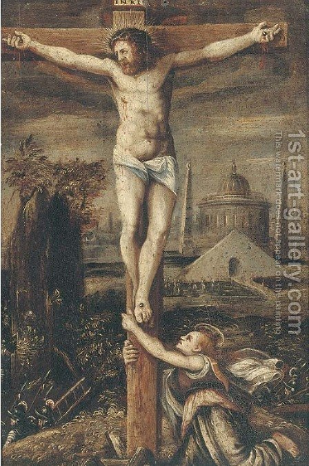 The Crucifixion by (after) Lodovico Pozzoserrato (see Toeput, Lodewijk) - Reproduction Oil Painting