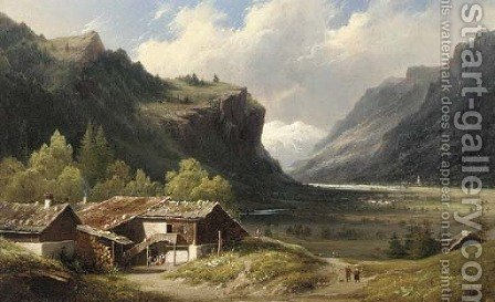 A sunlit chalet in an Alpine valley, thought to be Oberhasle, Switzerland by (after) Louis Auguste Lapito - Reproduction Oil Painting