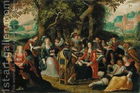 Elegant company feasting in a forest, a clearing beyond by (after) Louis De Caullery - Reproduction Oil Painting