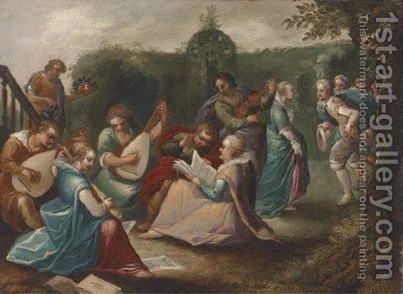 Elegant company making music in a garden by (after) Louis De Caullery II - Reproduction Oil Painting