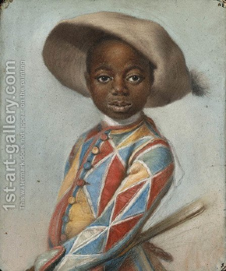 An African Page dressed as a Harlequin by (after)  Louis Vigee - Reproduction Oil Painting