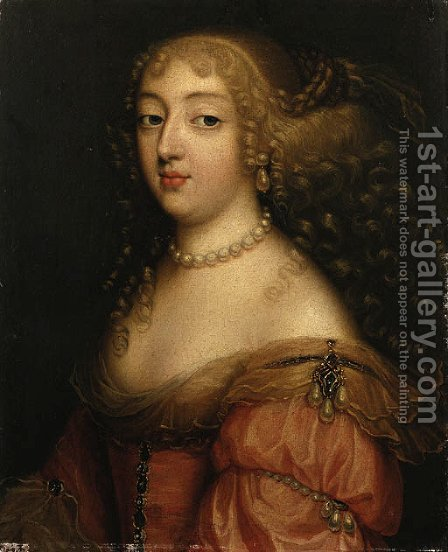 Portrait of a Lady, said to be Laura Mancini, Duchesse de Mrceur by (after) Louis Ferdinand (the Elder) Elle - Reproduction Oil Painting