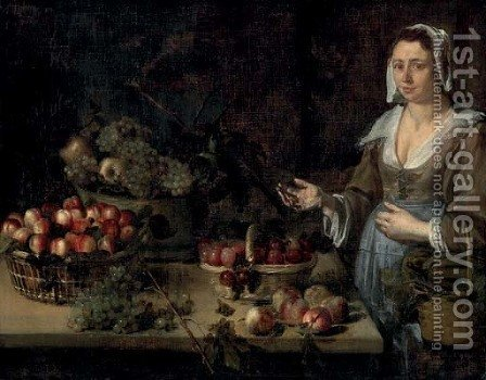A serving girl next to a table with baskets of melons, plums, peaches, apples and grapes by (after) Louise Moillon - Reproduction Oil Painting