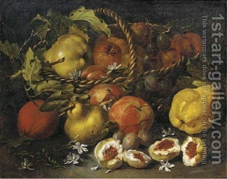 A pear, apples and plums in a woven basket, with figs, jasmine, pears and plums below by (after) Luca Forte - Reproduction Oil Painting