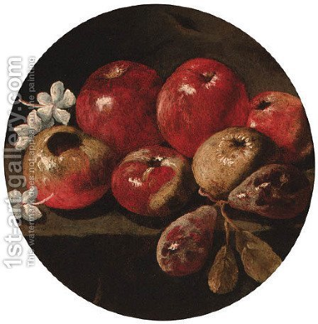 Apples, plums and blossom on a stone ledge by (after) Luca Forte - Reproduction Oil Painting