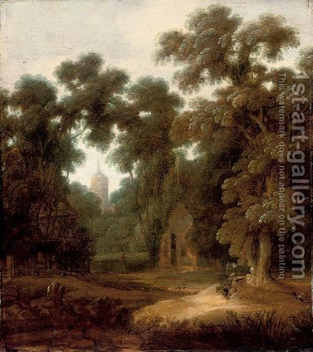 A wooded landscape with figures at rest on a track, a cottage and church beyond by (after) Lucas Achtschellinck - Reproduction Oil Painting