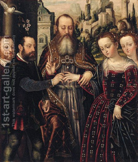 The Marriage of the Virgin by (after) Lucas Mombello - Reproduction Oil Painting