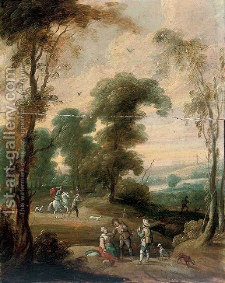 A wooded landscape with a hawking party on a track by (after) Lucas Van Uden - Reproduction Oil Painting