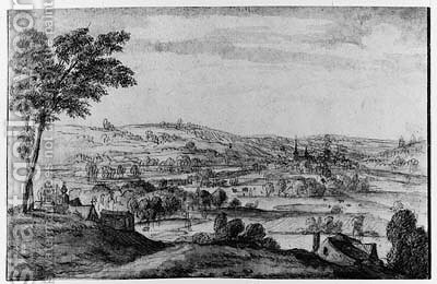 An extensive wooded hilly Landscape with a Monastery in the foreground, a town beyond by (after) Lucas Van Uden - Reproduction Oil Painting