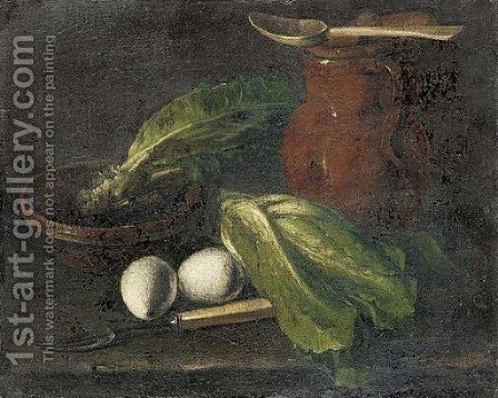 Eggs, lettuce, a jug, a bowl of lettuce and a fork on a table by (after) Luis Eugenio Melendez - Reproduction Oil Painting