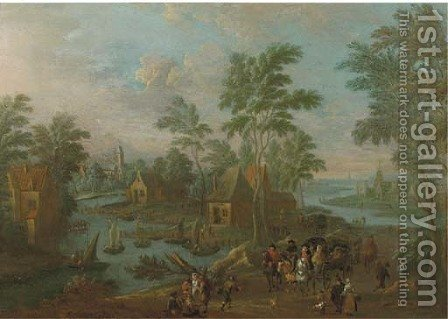A river landscape with a carriage, horsemen and travellers on a path in a village by (after) Marc Baets - Reproduction Oil Painting