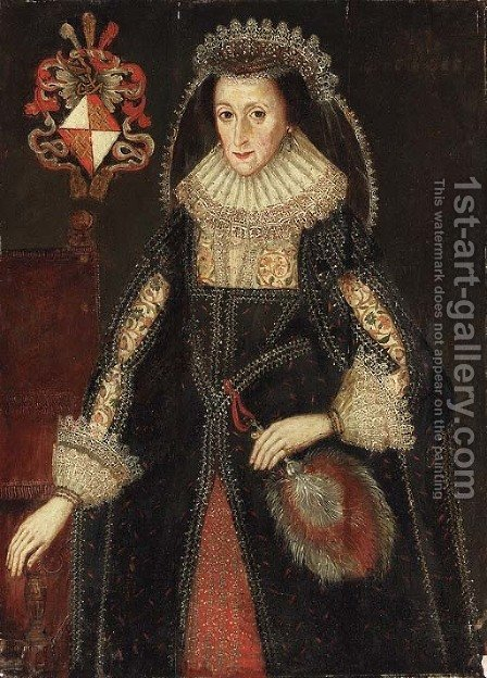 Portrait of Lady Eleanor Dutton (c. 1596-1665) by (after) Marcus The Younger Gheeraerdts - Reproduction Oil Painting
