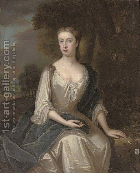 Portrait of a lady, traditionally identified as Mrs Chetham (1691-1749), nee Mary Holt by (after) Maria Verelst - Reproduction Oil Painting