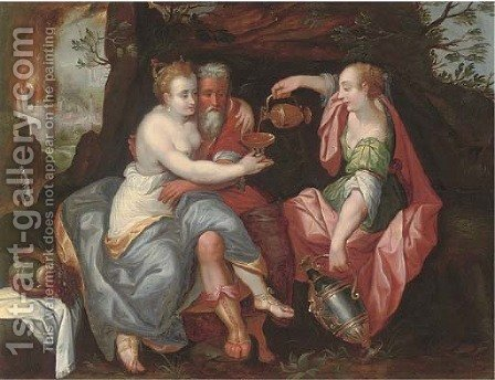Lot and his Daughters by (after) Maarten De Vos - Reproduction Oil Painting