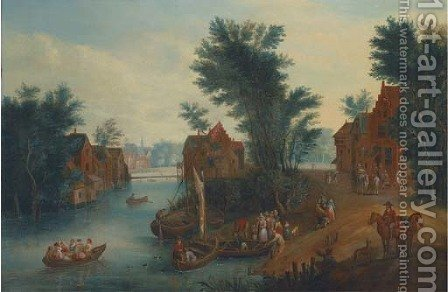 A village landscape with elegant company in ferries crossing a river by (after) Mathys Schoevaerts - Reproduction Oil Painting