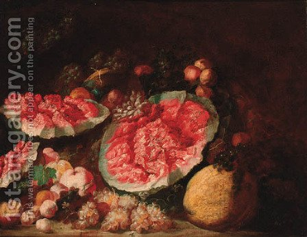 Still life of water melons, peaches and grapes by (after) Maximilian Pfeiler - Reproduction Oil Painting