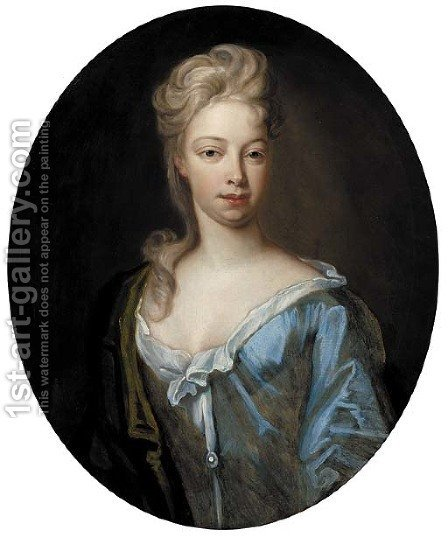 Portrait of a lady, quarter-length, in a blue dress and green wrap by (after) Dahl, Michael - Reproduction Oil Painting