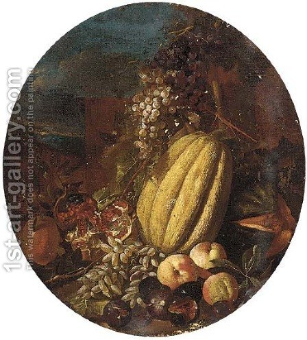 Melons, pomegranates, grapes, figs and apples in a clearing by (after) Michele Pace Del (Michelangelo Di) Campidoglio - Reproduction Oil Painting