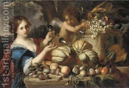 Melons, grapes, plums, peaches, pears, figs and pomegranates on a ledge, with a lady in a blue dress and a putto by (after) Michele Pace Del (Michelangelo Di) Campidoglio - Reproduction Oil Painting