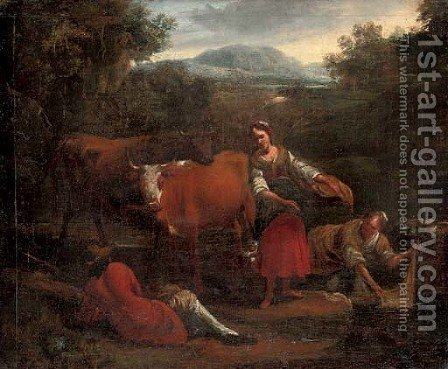 A river landscape with washerwomen conversing with a drover, his cattle beyond by (after) Michiel Carree - Reproduction Oil Painting