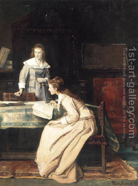Diligent Studies by (after) Mihaly Munkacsy - Reproduction Oil Painting