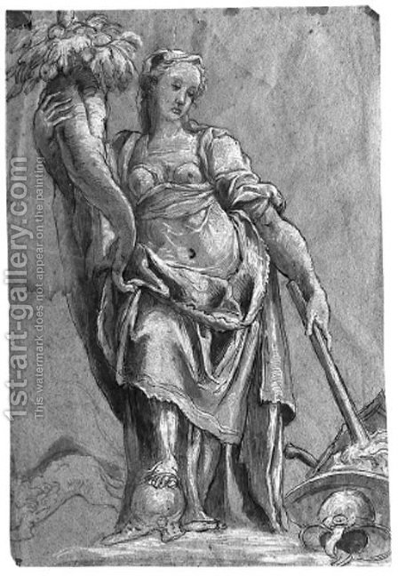 An allegorical figure of Peace by (after) Niccolo Dell' Abbate - Reproduction Oil Painting