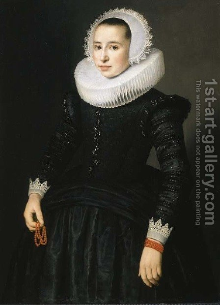 Portrait of a young lady by (after) Nicolaes (Pickenoy) Eliasz - Reproduction Oil Painting