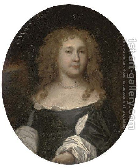 Portrait of a lady, bust-length, in a black dress with slashed sleeves, wearing a pearl necklace and earrings by (after) Nicolas De Largilliere - Reproduction Oil Painting
