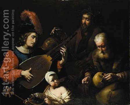 A young man playing a theorbo-lute by (after) Nicolas Tournier - Reproduction Oil Painting