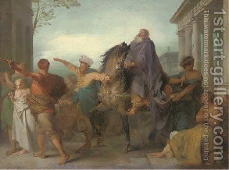 A classical scene with an old man being lead through a city on horseback by (after) Nicolas-Antoine Taunay - Reproduction Oil Painting
