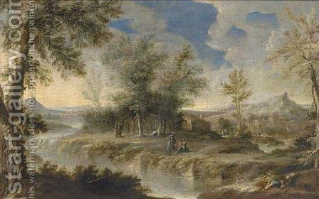 A wooded river landscape with figures on the river bank by (after) Orazio Grevenbroeck - Reproduction Oil Painting