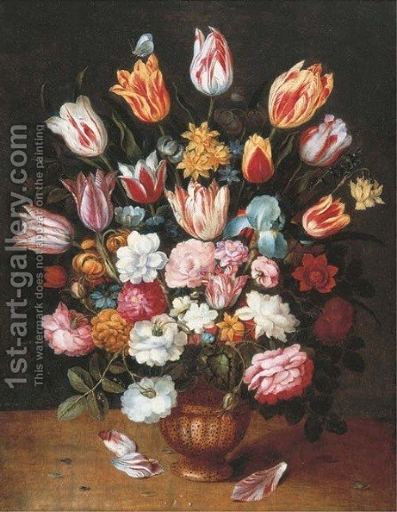 Tulips, daffodils, roses, an iris and other flowers in a pottery vase on a ledge by (after) Osias, The Younger Beert - Reproduction Oil Painting