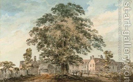 Horses by a farmstead by (after) Paul Sandby - Reproduction Oil Painting