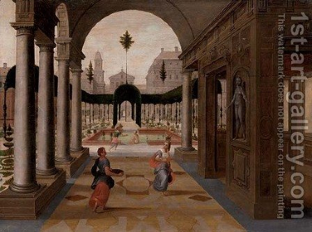 A capriccio of a palace courtyard with figures in the foreground and others bathing in an ornamental garden beyond by (after) Paul Vredeman De Vries - Reproduction Oil Painting